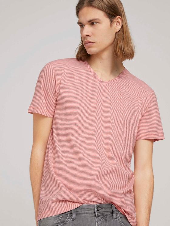 gestreiftes T-Shirt - Männer - orange white yd melange stripe - 5 - TOM TAILOR Denim