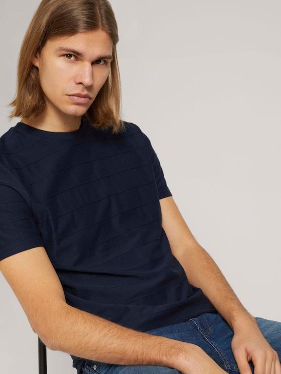 strukturiertes T-Shirt - Männer - Sky Captain Blue - 5 - TOM TAILOR Denim