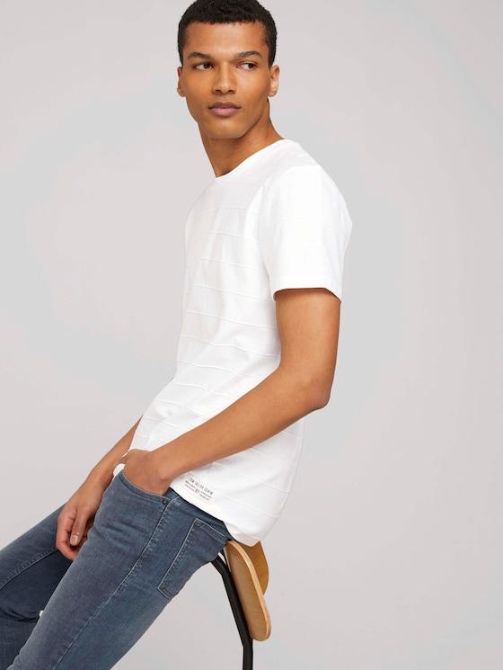 strukturiertes T-Shirt - Männer - White - 5 - TOM TAILOR Denim