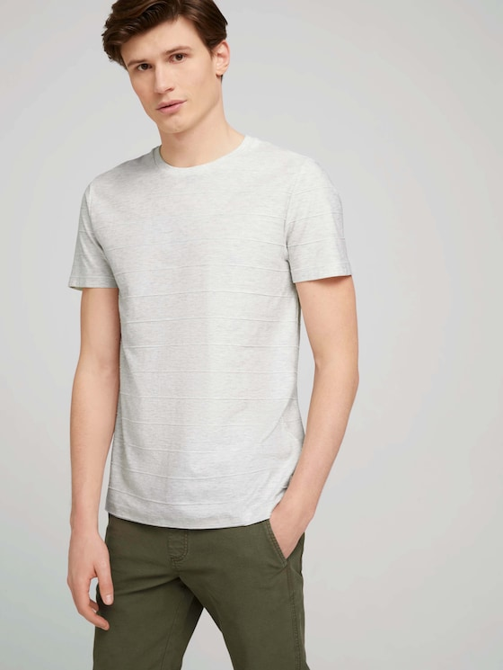 strukturiertes T-Shirt - Männer - wool white melange - 5 - TOM TAILOR Denim