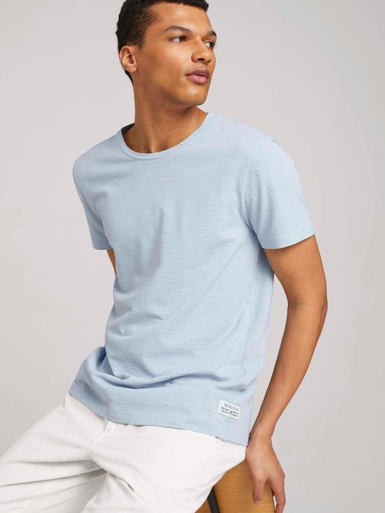 gemustertes T-Shirt - Männer - blue dot triangle print - 5 - TOM TAILOR Denim