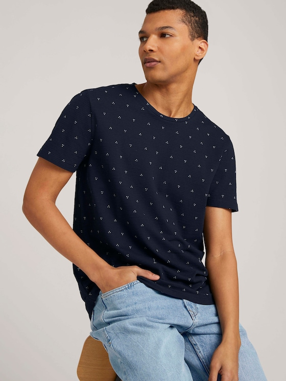 gemustertes T-Shirt - Männer - navy dot triangle print - 5 - TOM TAILOR Denim