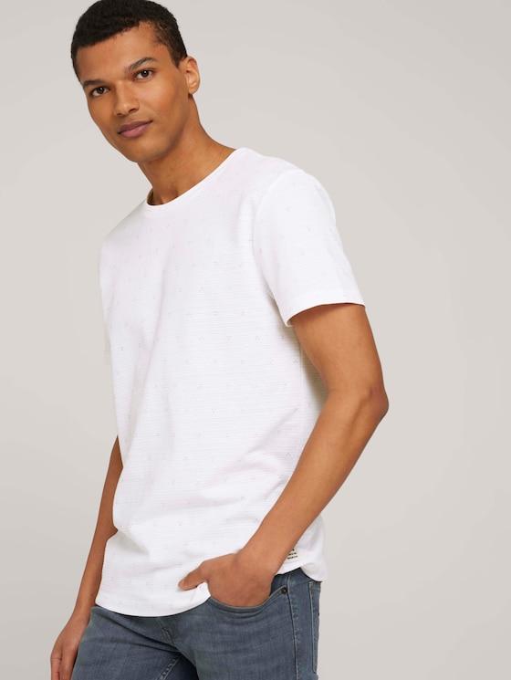 gemustertes T-Shirt - Männer - white dot triangle print - 5 - TOM TAILOR Denim