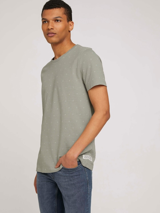 gemustertes T-Shirt - Männer - olive dot triangle print - 5 - TOM TAILOR Denim