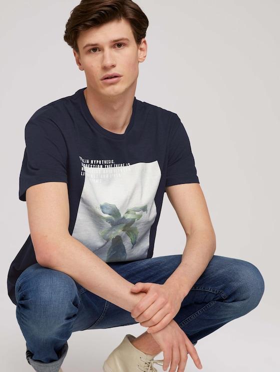 Print T-Shirt mit Bio-Baumwolle - Männer - Sky Captain Blue - 5 - TOM TAILOR Denim