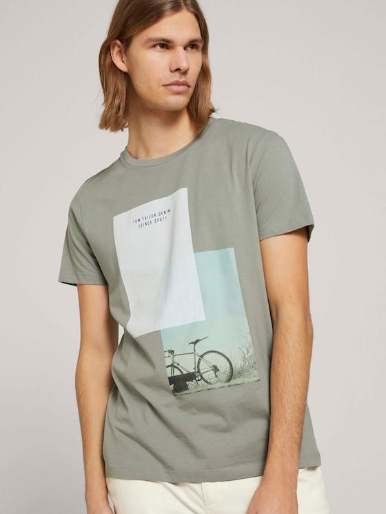 T-Shirt mit Bio-Baumwolle - Männer - Greyish Shadow Olive - 5 - TOM TAILOR Denim
