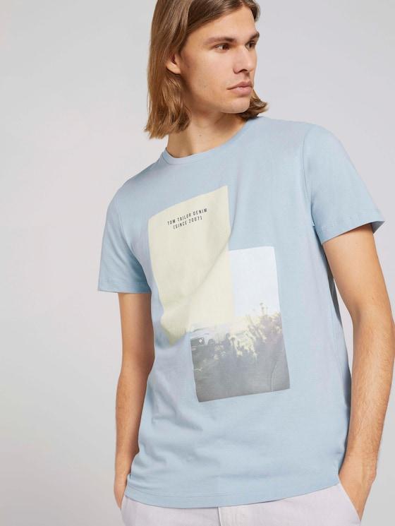 T-Shirt mit Bio-Baumwolle - Männer - Foggy Blue - 5 - TOM TAILOR Denim