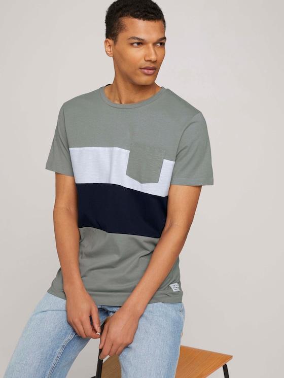 T-Shirt im Colour Blocking - Männer - Greyish Shadow Olive - 5 - TOM TAILOR Denim
