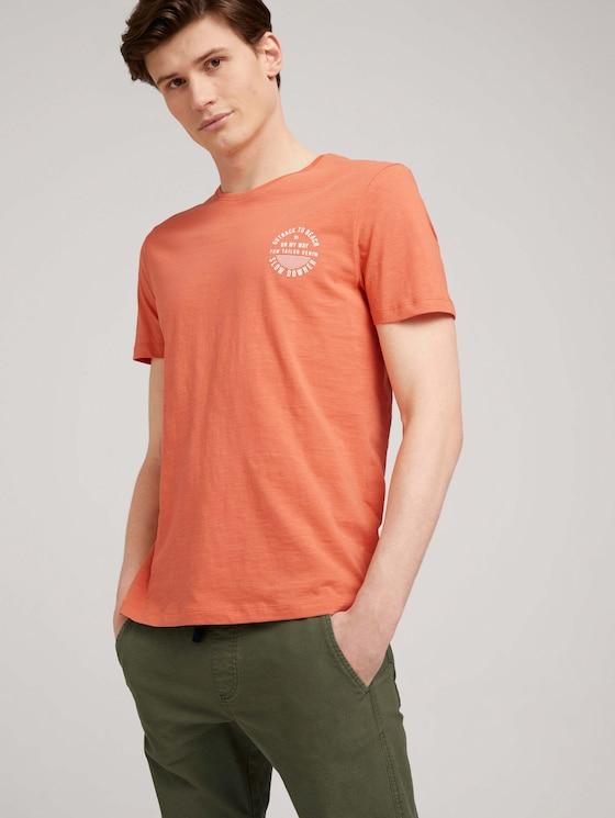 T-Shirt mit Bio-Baumwolle - Männer - orange lobster - 5 - TOM TAILOR Denim