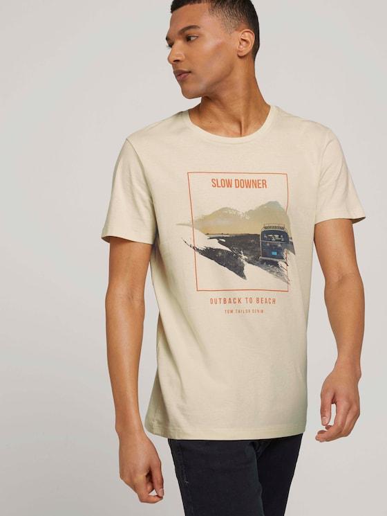 Print T-Shirt mit Bio-Baumwolle - Männer - smoke white - 5 - TOM TAILOR Denim