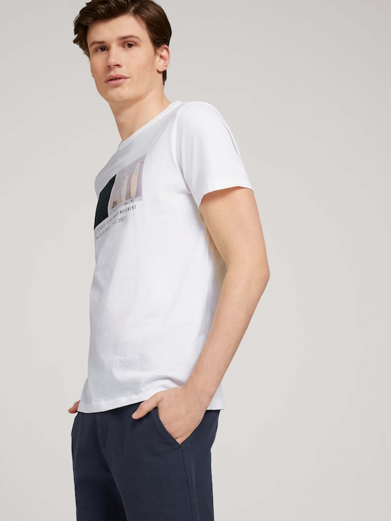 T-Shirt mit Bio-Baumwolle - Männer - White - 5 - TOM TAILOR Denim