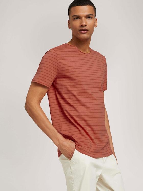 striped t-shirt made of organic cotton - Men - lobster ornage tonal stripe - 5 - TOM TAILOR Denim