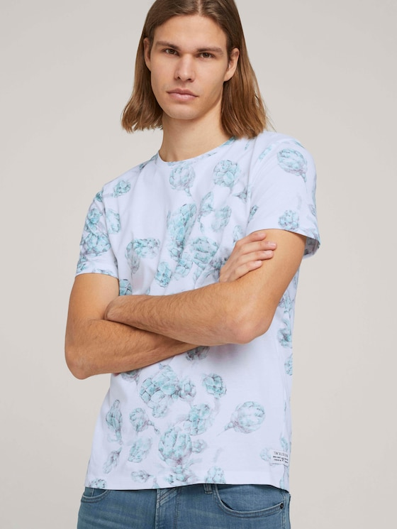 gemustertes T-Shirt - Männer - white bundled artichoke print - 5 - TOM TAILOR Denim