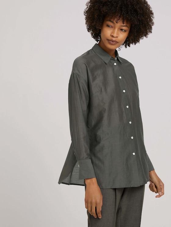 Oversized Bluse mit Seide - Frauen - deep leaf green - 5 - Mine to five