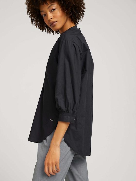3/4-sleeved ruffled blouse - Women - deep black - 5 - Mine to five
