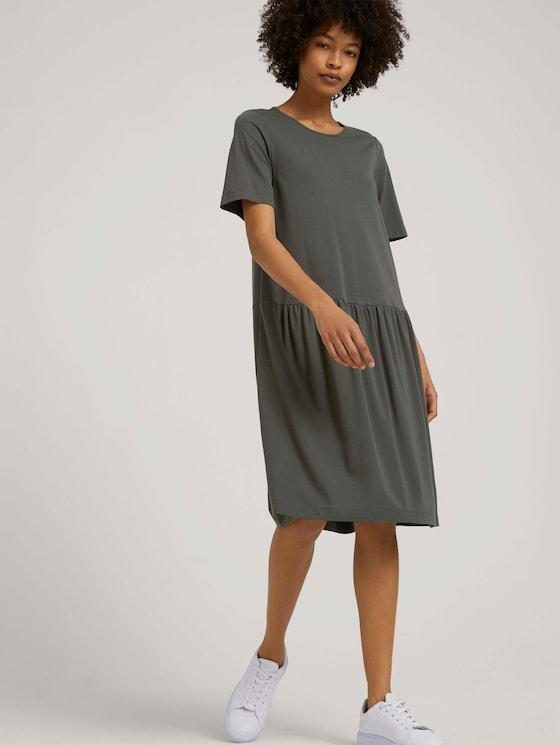 T-Shirt-Kleid mit Raffungen - Frauen - deep leaf green - 5 - Mine to five