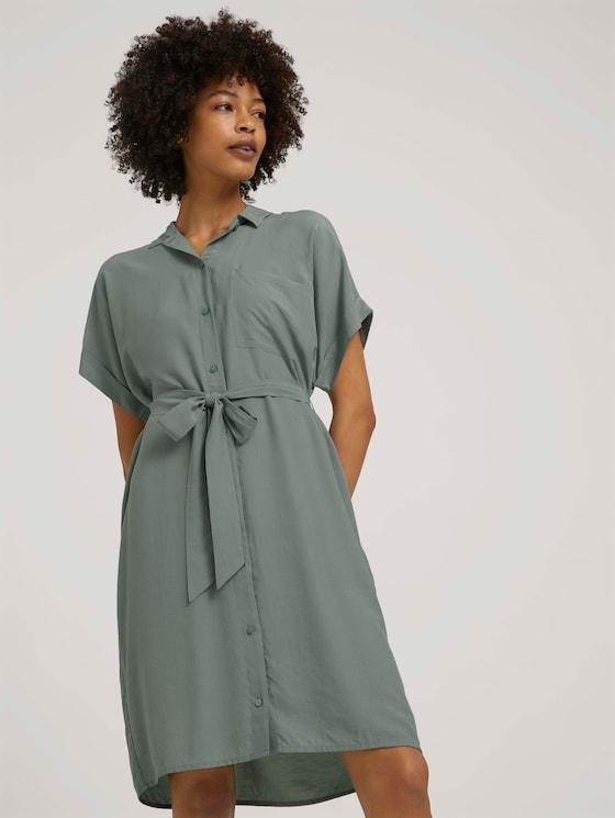 Kurzarm Blusenkleid mit LENZING™ ECOVERO™ - Frauen - Dusty Leave Green - 5 - Mine to five