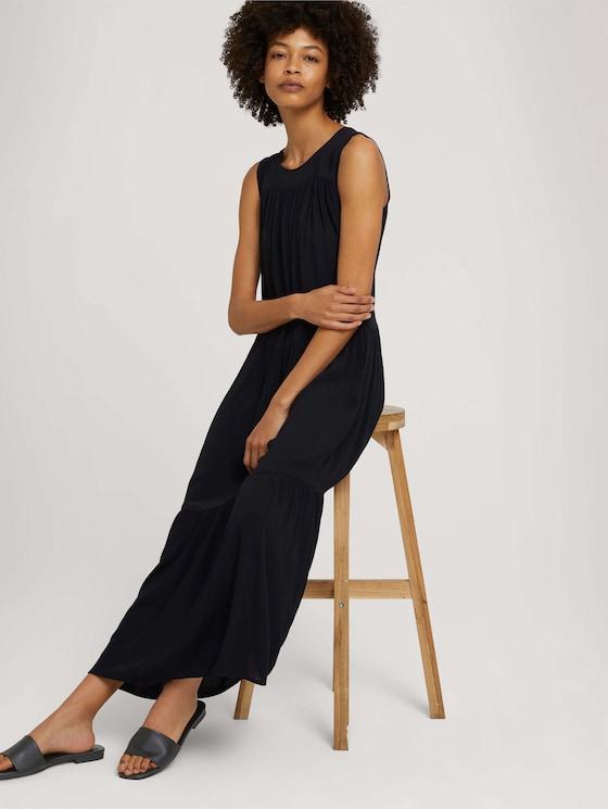 Sleeveless maxi dress with ruffles - Women - deep black - 5 - Mine to five