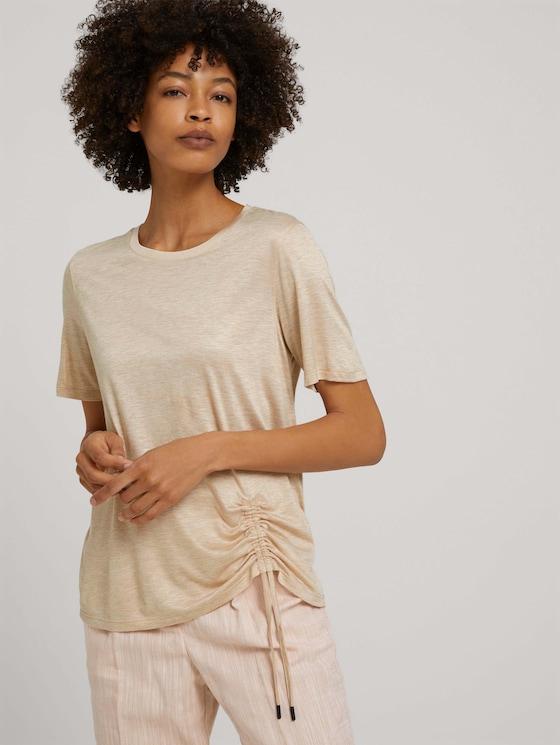 Meliertes T-Shirt mit Raffung - Frauen - cream toffee melange - 5 - Mine to five