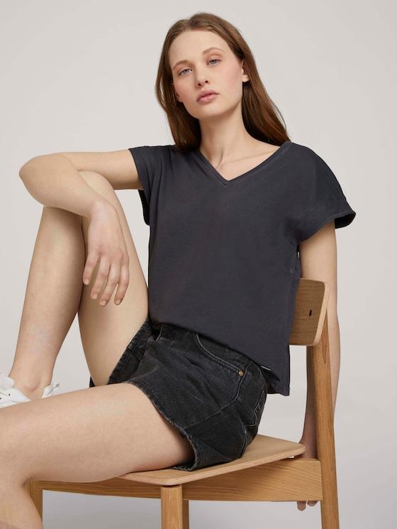 T-Shirt mit Ärmelaufschlag - Frauen - deep black - 5 - TOM TAILOR Denim