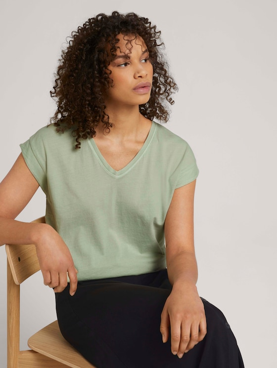 T-Shirt mit Ärmelaufschlag - Frauen - light dusty green - 5 - TOM TAILOR Denim