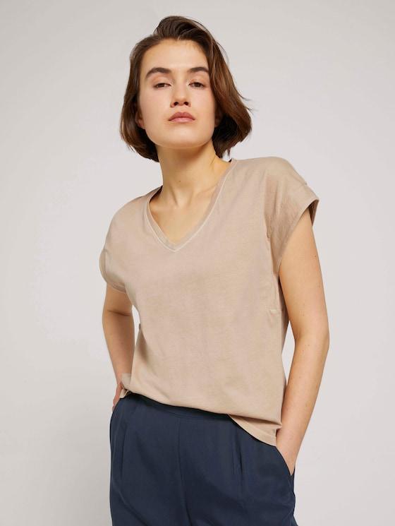 T-Shirt mit Ärmelaufschlag - Frauen - dune beige - 5 - TOM TAILOR Denim