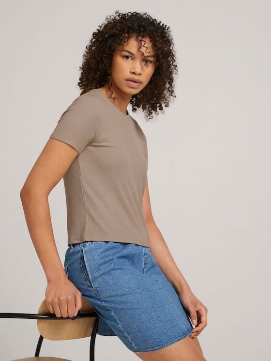 strukturiertes T-Shirt - Frauen - dune beige - 5 - TOM TAILOR Denim