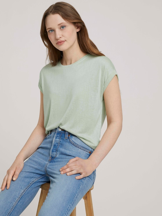 T-Shirt mit Ärmelaufschlag - Frauen - light dusty green - 5 - TOM TAILOR Denim