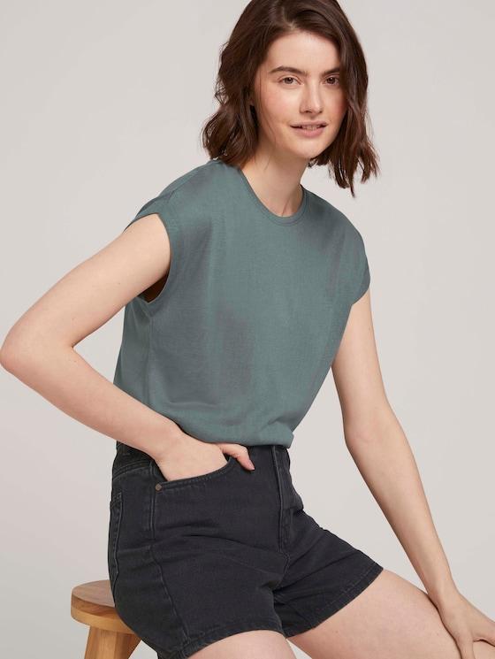 T-Shirt mit Ärmelaufschlag - Frauen - dusty pine green - 5 - TOM TAILOR Denim