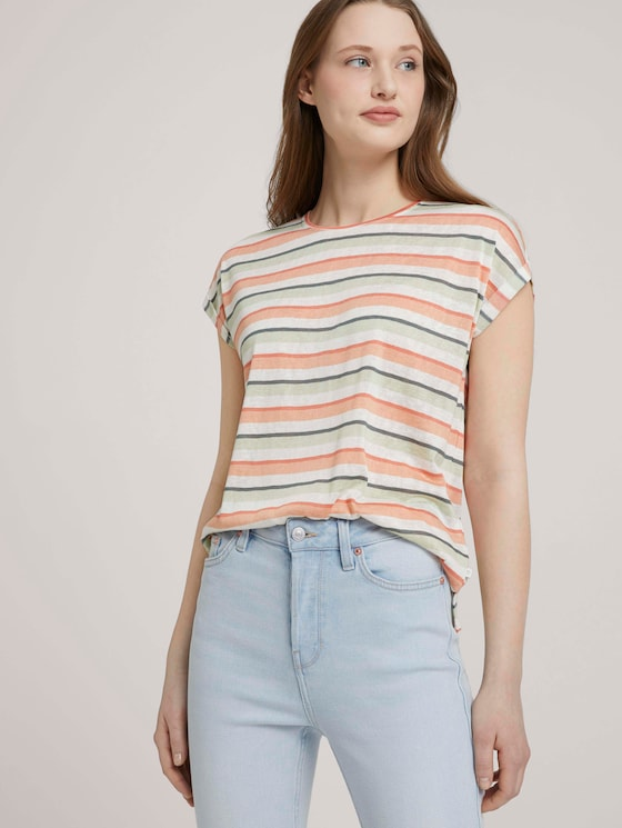 T-Shirt mit Ärmelaufschlag - Frauen - multicolor stripe - 5 - TOM TAILOR Denim