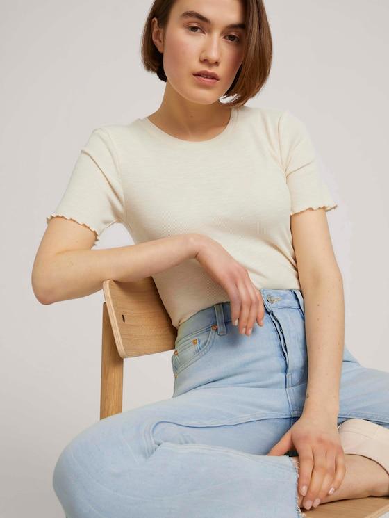 strukturiertes T-Shirt - Frauen - soft creme beige - 5 - TOM TAILOR Denim