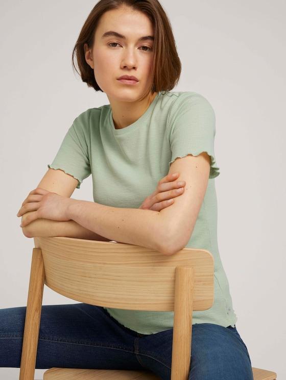 strukturiertes T-Shirt - Frauen - light dusty green - 5 - TOM TAILOR Denim