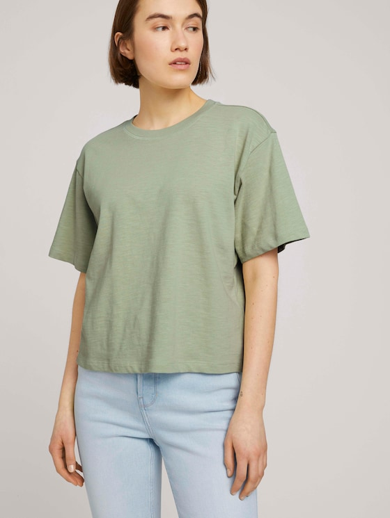 Cropped Basic T-Shirt - Frauen - light dusty green - 5 - TOM TAILOR Denim