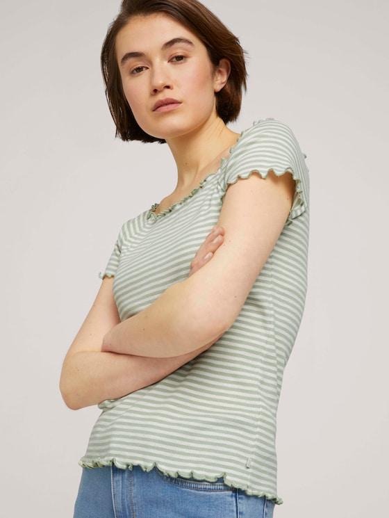 Schulterfreies Carmen T-Shirt mit Streifen - Frauen - green white stripe - 5 - TOM TAILOR Denim