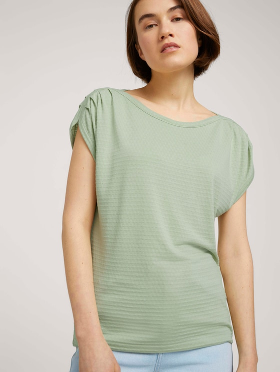 T-Shirt mit Faltendetail - Frauen - light dusty green - 5 - TOM TAILOR Denim