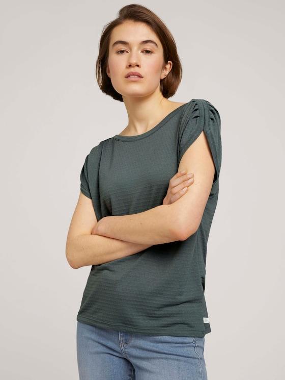 T-Shirt mit Faltendetail - Frauen - dusty pine green - 5 - TOM TAILOR Denim