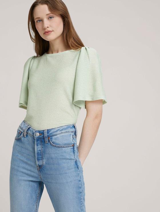 T-Shirt mit Rückenausschnitt - Frauen - light dusty green - 5 - TOM TAILOR Denim