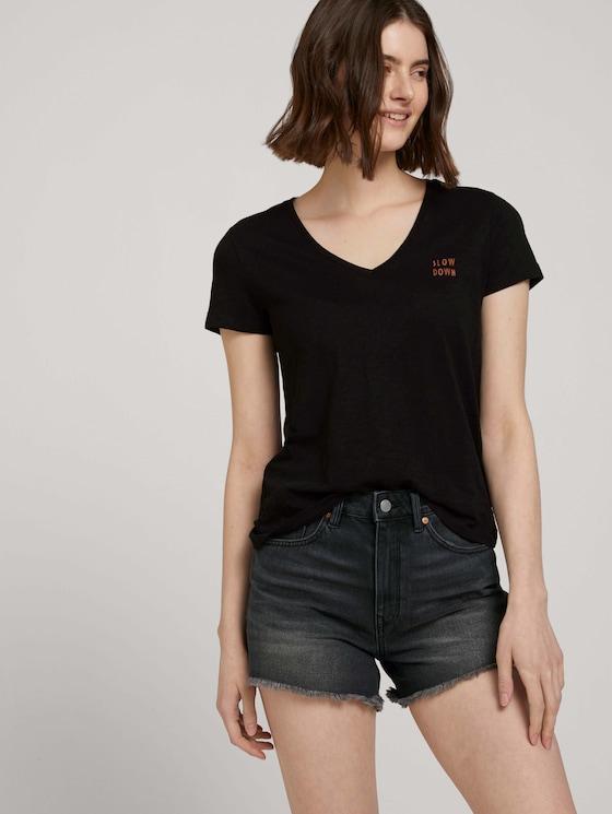 T-Shirt mit Bio-Baumwolle - Frauen - deep black - 5 - TOM TAILOR Denim