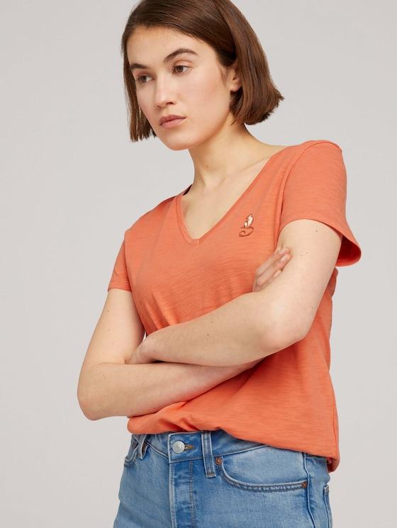 T-Shirt mit Bio-Baumwolle - Frauen - sundown coral - 5 - TOM TAILOR Denim