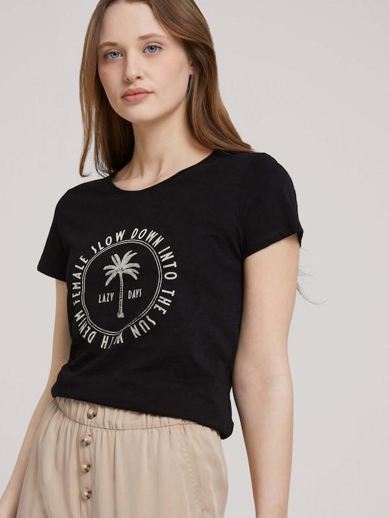 Print T-shirt made of organic cotton - Women - deep black - 5 - TOM TAILOR Denim