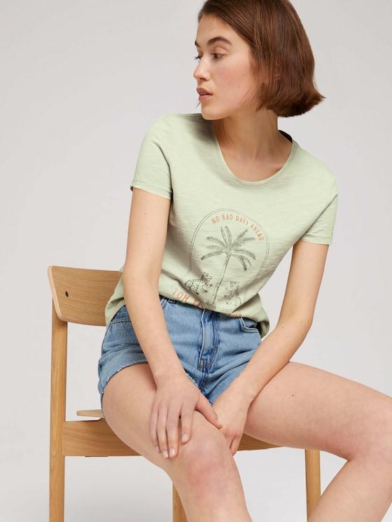 Print T-Shirt mit Bio-Baumwolle - Frauen - light dusty green - 5 - TOM TAILOR Denim