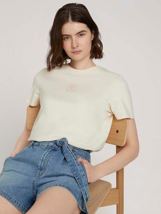 Print T-Shirt mit Bio-Baumwolle - Frauen - soft creme beige - 5 - TOM TAILOR Denim