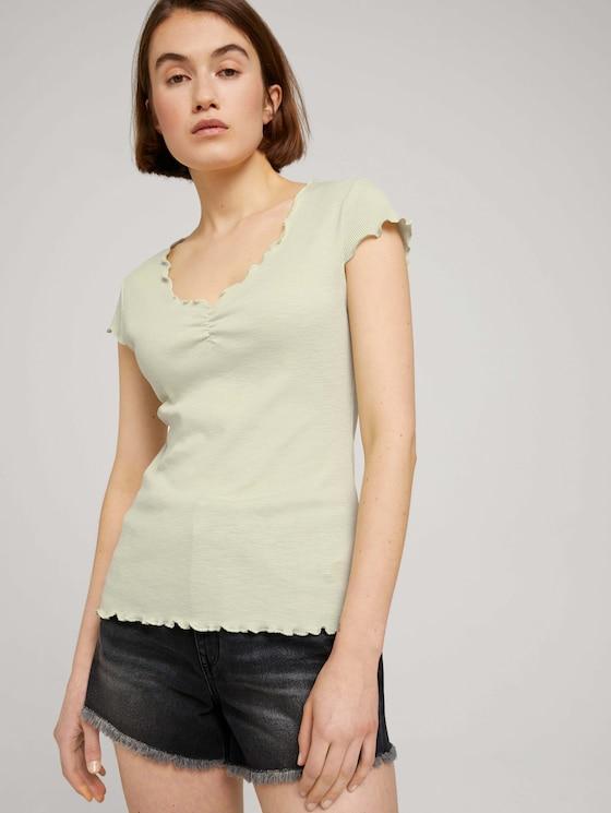 T-Shirt mit Wellensaumkante - Frauen - light dusty green - 5 - TOM TAILOR Denim