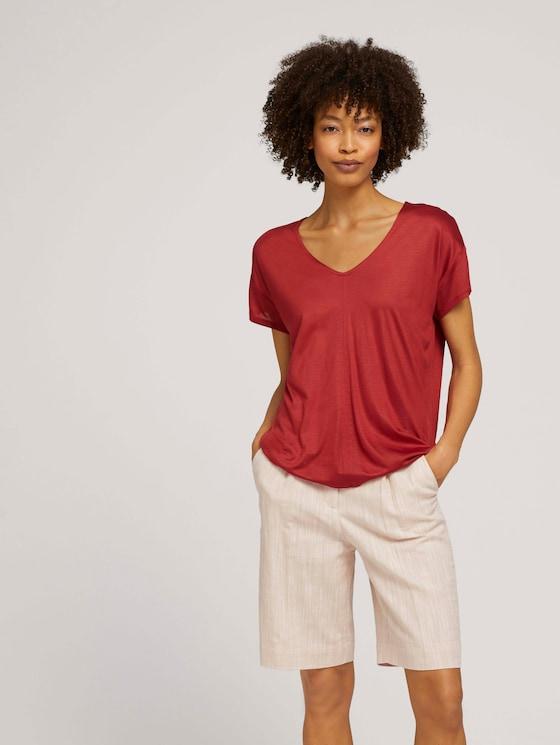 T-Shirt mit V-Ausschnitt - Frauen - Rooibos Orange - 5 - Mine to five