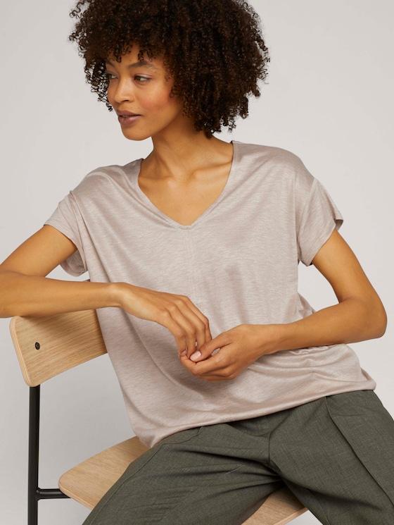 T-Shirt mit V-Ausschnitt - Frauen - cream toffee melange - 5 - Mine to five
