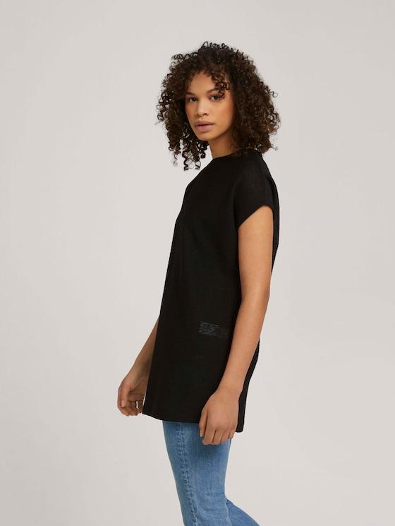 Langes T-Shirt mit Schlitzen - Frauen - deep black - 5 - TOM TAILOR Denim