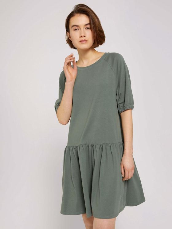 Jerseykleid mit Ballonärmeln - Frauen - dusty pine green - 5 - TOM TAILOR Denim