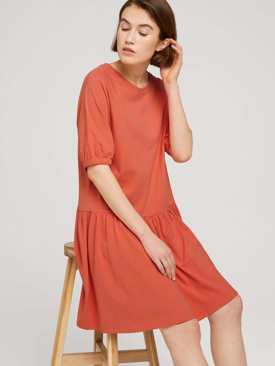 Jerseykleid mit Ballonärmeln - Frauen - sundown coral - 5 - TOM TAILOR Denim