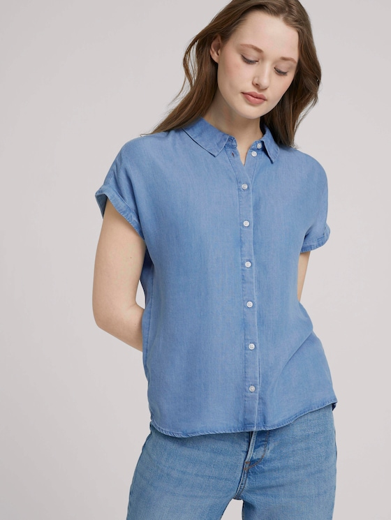 Jeansbluse mit TENCEL™ - Frauen - Used Light Stone Blue Denim - 5 - TOM TAILOR Denim