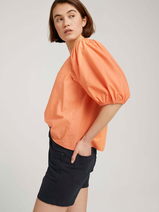 Ballonärmel Bluse mit Bio-Baumwolle - Frauen - sundown coral - 5 - TOM TAILOR Denim